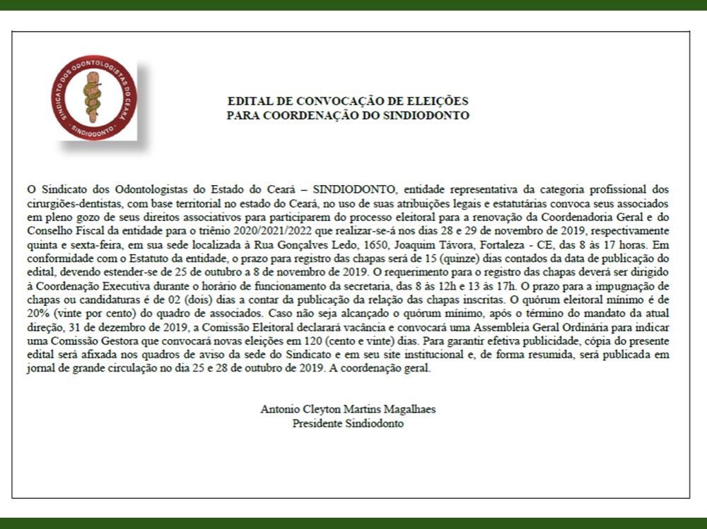 Edital de Convocação de Eleições para Coordenação do Sindiodonto